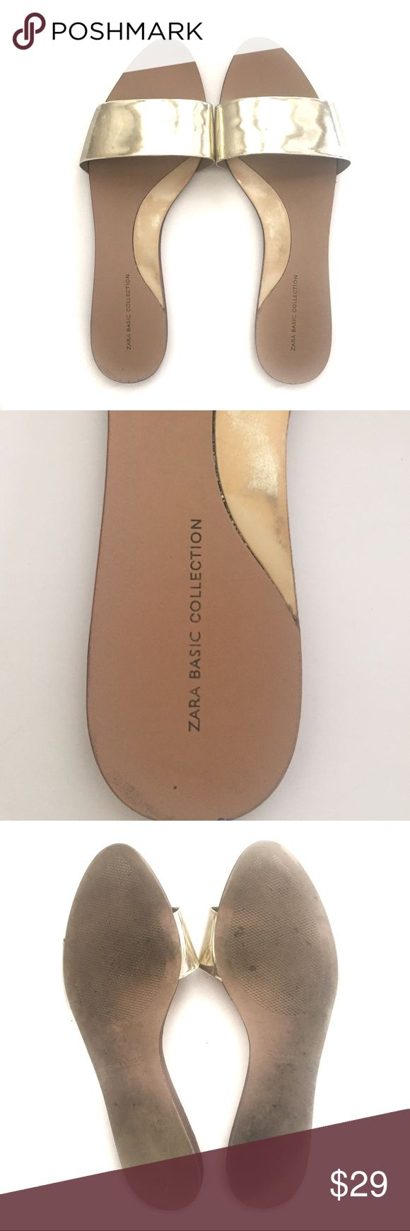 Zara Shiny Gold Flat Sandals Slide Shoes  Size 9 Great gently used condition! Zara Shoes Sandals