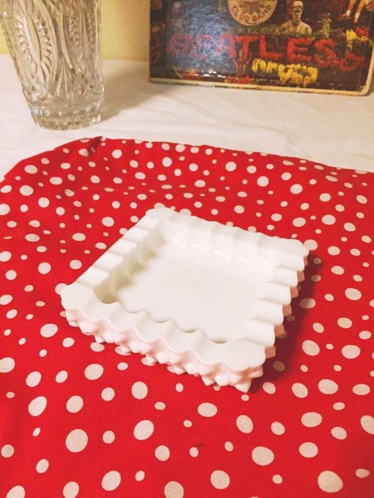 Vintage Milk Glass Hobnail Square Ashtray Cigarette Pipe White Ashtray     eBay
