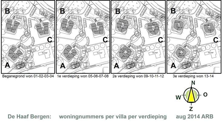 De woningnummers per villa per verdieping van Wonen op de Haaf Noord Holland (2014)