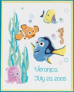 NIP Janlynn Disney Finding Nemo Counted Cross Stitch Kit Birth Record Baby 2005 | eBay