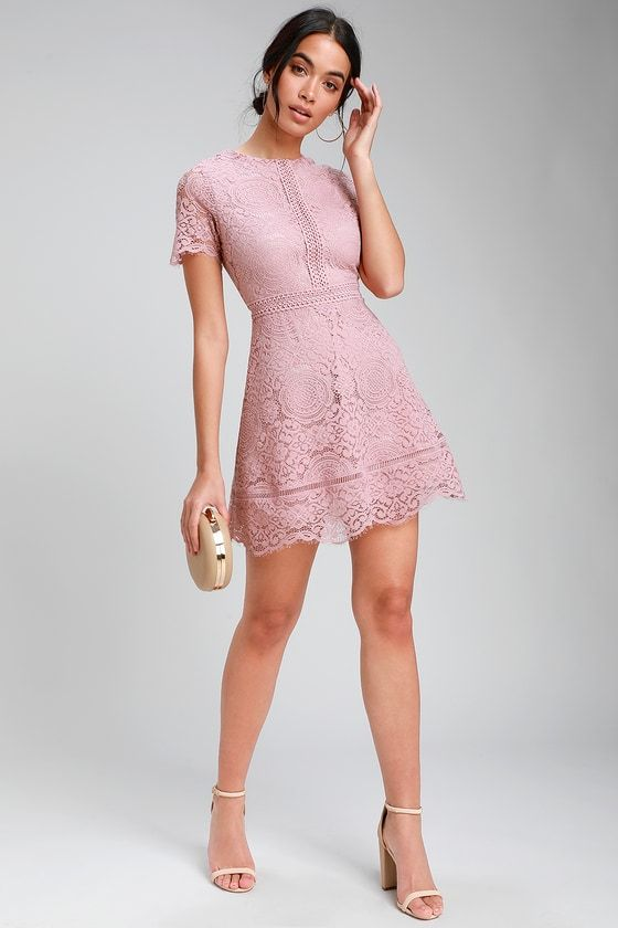 53b3cd77cf793 Lulus | Dinner For Two Mauve Pink Lace Short Sleeve Dress | Size 0 ...