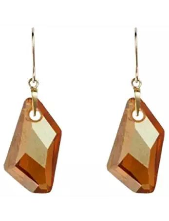 9ct Yellow Gold Swarovski Crystal Copper Drop Earring