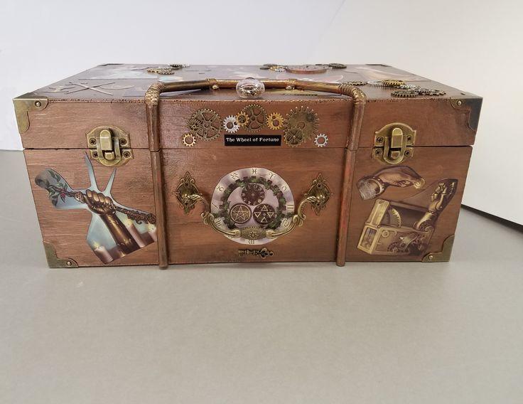 Steampunk Tarot Custom Wooden Box - Front