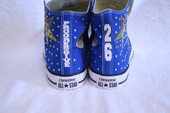 save off ae085 de9fb OES - Order of the Eastern Star rhinestone embellished Converse hi-tops  tennis shoes. These shoes have the Star emblem logo embroidered patch along  with ...