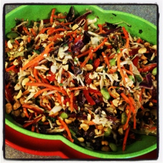 Asian Slaw with Ginger Peanut Dressing - in Vintage Melmac!