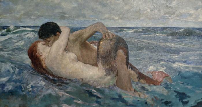 """Klinger, Max 1857-1920. """"The Siren """" (also: Triton and Nereid), 1895. Oil on wood, 100 x 183cm. Florence, Collection Villa Romana. MONDADORI PORTFOLIO/AKG Images"""