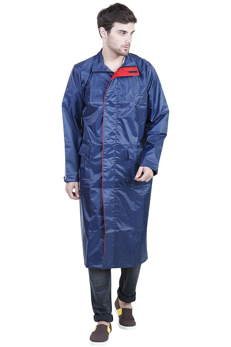 Versalis Blue Solid Hooded Raincoat For Men #Raincoat
