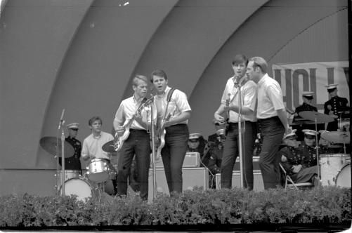 The Beach Boys during their debut Hollywood Bowl performance (Y-Day Concert) on  October 19, 1963 Sharing the bill with them included  Paul Petersen, Soupy Sales, Eddie & The Showmen, Dodie Stevens, The  Fleetwoods, Duane Eddy, and Jan & Dean. The Beach Boys played their top hits of the day including Little Deuce Coupe, In My Room, Be True To Your School and Surfer Girl.