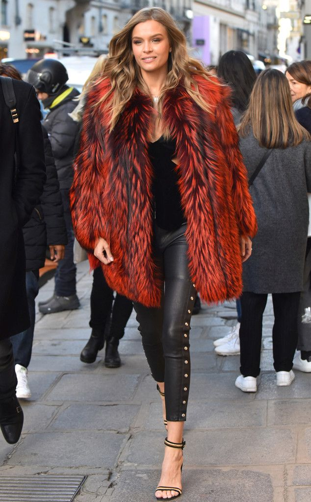 Josephine Skriver from The Big Picture: Today's Hot Pics  The Victoria's Secret model keeps warm in a red fur jacket in Paris.