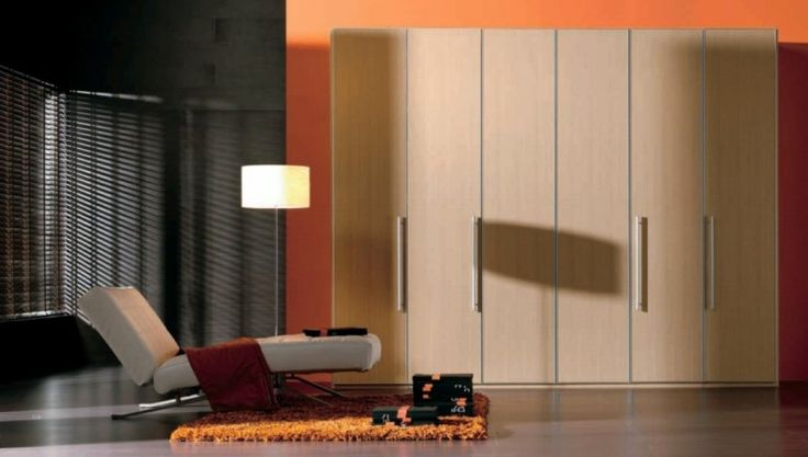 Wood Finish Wardrobe With 4 Doors Maple Wardrobe Cabinet As Well As White Lazy Sofas Plus Yellow Shaggy Rugs And Black Orange Walls Design Ideas: Beautify Your Room with Modern Minimalist Wardrobe Designs