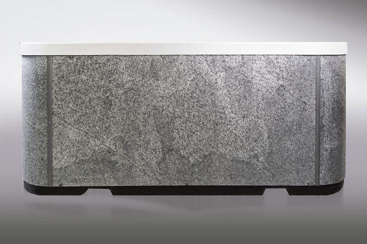 Skinrock-panelointi Lumispa ulkoporealtaassa on aitoa kiviviilua. Lumispa.fi | Ulkoallas.fi | kylpykauppa.fi | Novitek.fi | facebook.com/novitekspa/