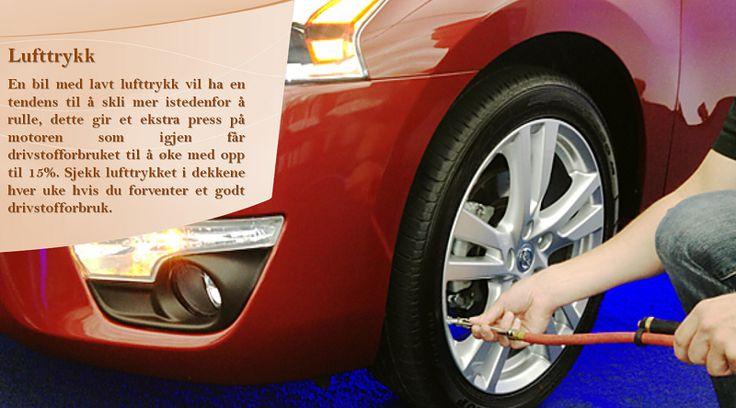 Sjekk dekkene Å holde riktig lufttrykk i dekkene og finjustert spissing reduserer drivstofforbruket ved å reduserer hvor mye motoren må «dra» på bilen. Dekk som  har redusert rullemotstand med 10 prosent kan forbedre drivstofforbruket med opp til to prosent på de fleste biler. #dekkverksteder