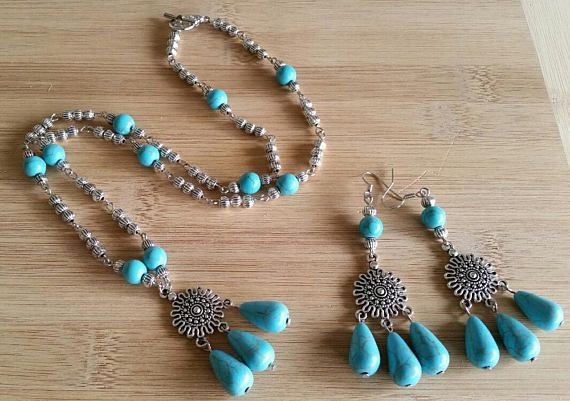 Turquoise necklace and earrings  Birthday gift