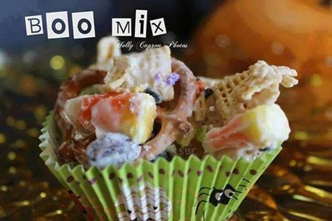 Save Print Boo Mix  Ingredients A Half of Package of White Almond Bark 2 Cups of Corn Chex 2 Cups of Rice Chex 2 Cups of Mini Pretzels ½ Cup of Raisins ½ Cup of Candy Corn &frac…