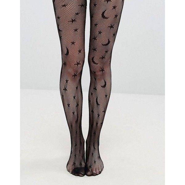 Leg Avenue Halloween Celestial Net Tights ($15) ❤ liked on Polyvore featuring intimates, hosiery, tights, black, leg avenue pantyhose, net stockings, high rise tights, star tights and leg avenue stockings