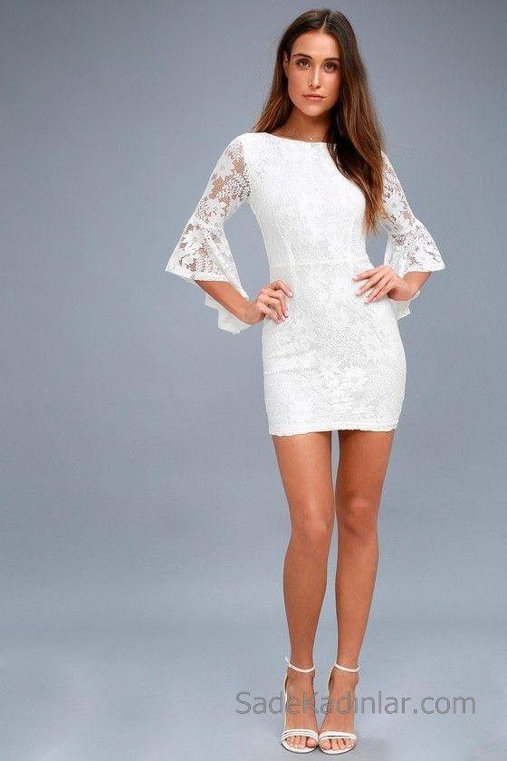 a3d1b4bfa9dba Abiye Modelleri 2018 2019 Gece Elbiseleri Göz Alıcı Kıyafetler Beyaz Kısa  Dantel Elbise Sırtı Açık İspanyol Kol