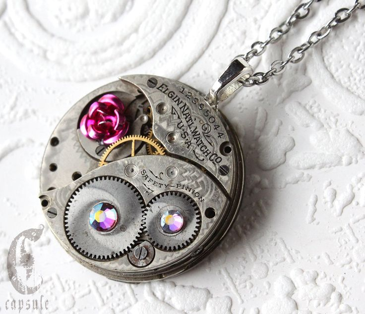 Steampunk Statement Necklace - Pink Rose Elgin Guilloche Etch Antique Pocket Watch Movement with Boreal Amethyst Swarovski Crystals Gift by CapsuleCreations on Etsy