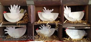 Kids Artists:Hen House. Would make a great display to have them all sitting on their eggs!