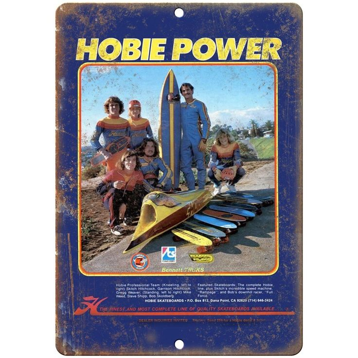"Hobie Power Skateboard Ad - 10"" x 7"" Reproduction Metal Sign"