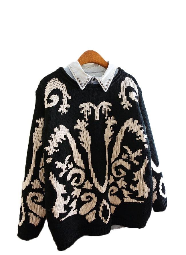 90s Grunge pattern sweater punk chic embroidery. $33.00 ...