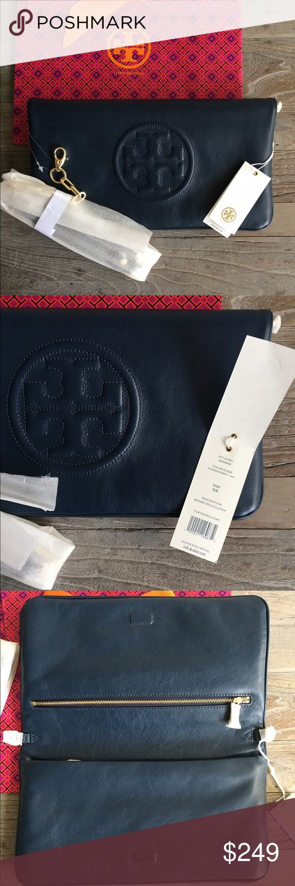 NWT Tory Burch Reva Bombe Clutch Brand new with tag and gift bag Tory Burch Reva Bombe Clutch in Hudson (Navy) Blue with gold hardware. I do have proof of purchase and a gift receipt so yes this is authentic. NO TRADES. FIRM PRICE. No dust bag, sorry! All items in my closet are Authentic guaranteed. Also available in black! Tory Burch Bags Clutches & Wristlets