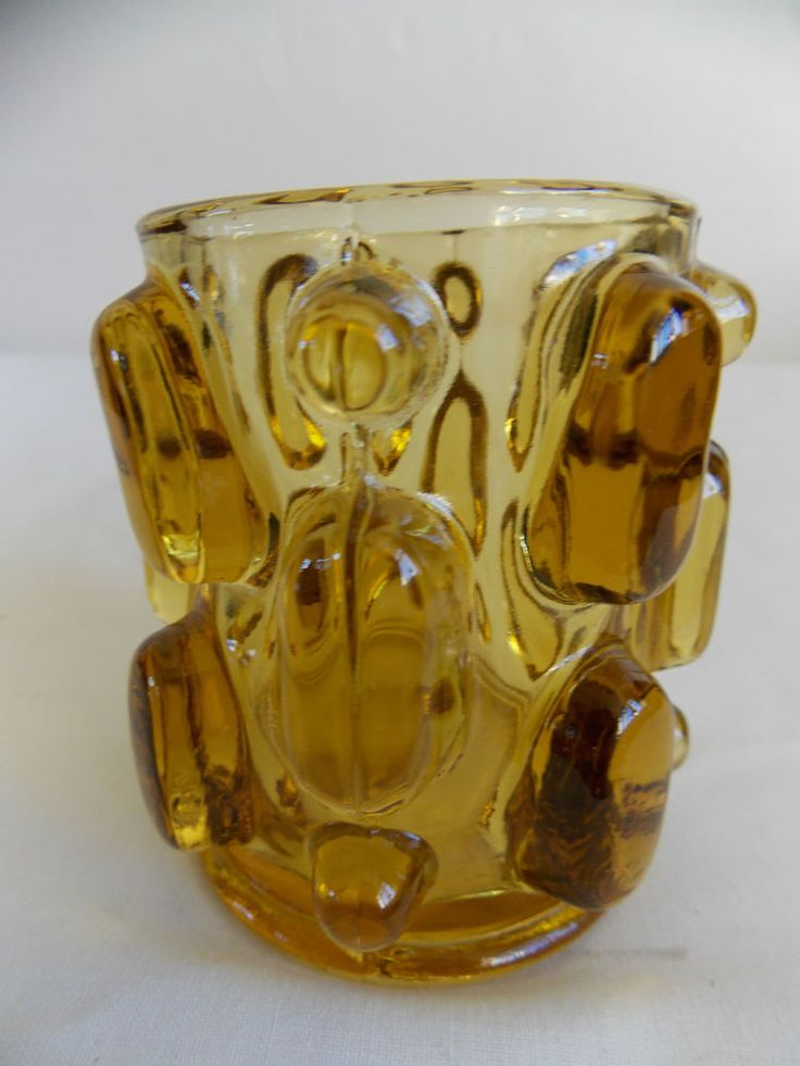 AMBER GLASS VASE Vladislav Urban for Hermanova Hut Sklo Union knobbly Czech art