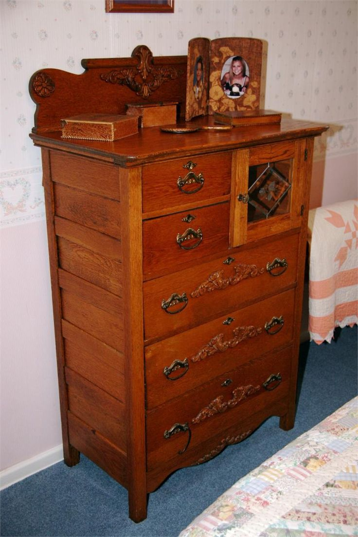 Antique oak dresser with mirror and hat box turn of the century oak dresser