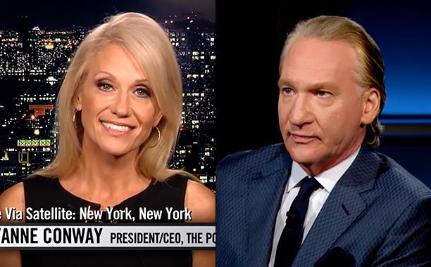 "An interview between Bill Maher and Donald Trump's campaign manager Kellyanne Conway turned tense on HBO's Real Time when the host called out his guest for ""enabling pure evil."""