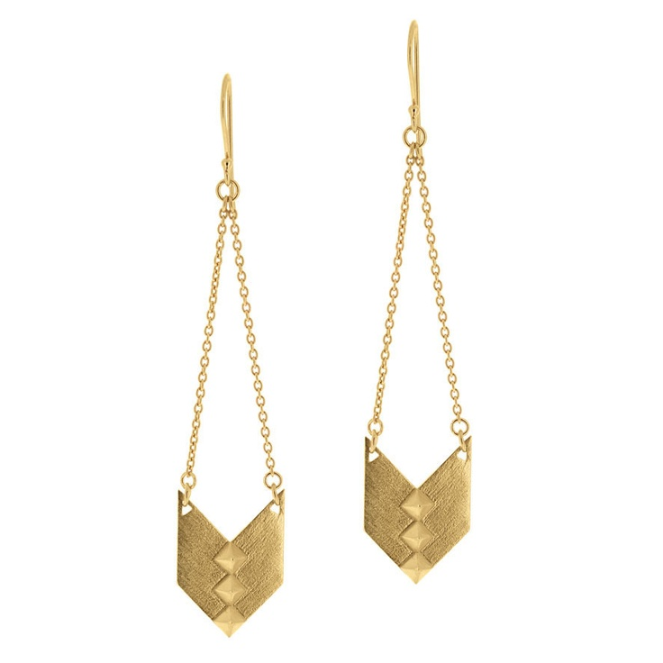 Nomad Earrings Single Drop - Yellow Gold Plated Sterling Silver  - Linda Tahija