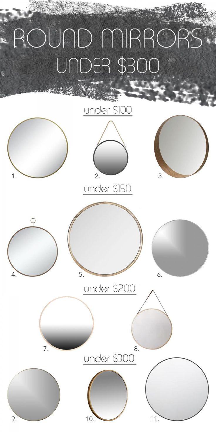 round mirrors under $300 mood board via Simply Grove