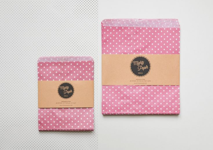 20 Papiertüten Kraftpapier Tüten Candy Bags Geschenktüten klein gepunktet pink Flachbeutel Beutel V010 by MightyPaperShop on Etsy