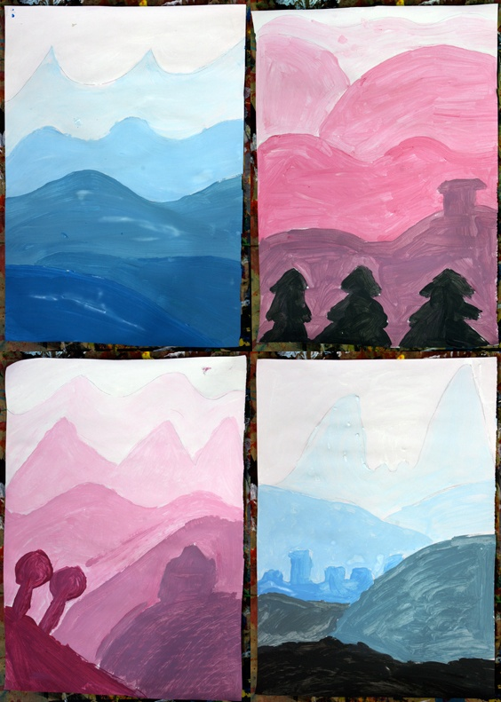 Art with mr hall value landscapes 3rd grade tint shade for Landscape art projects