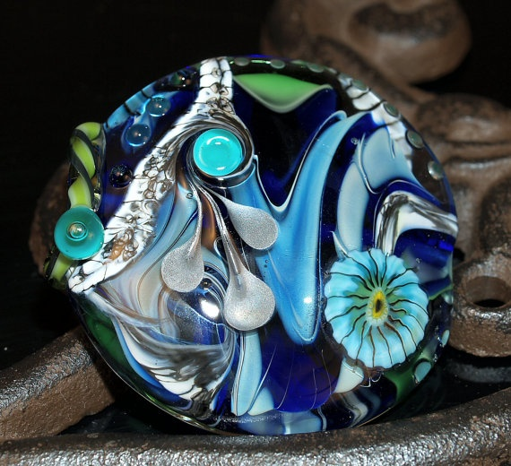 large blue lentil with silver glass handmade glass bead sra ooak