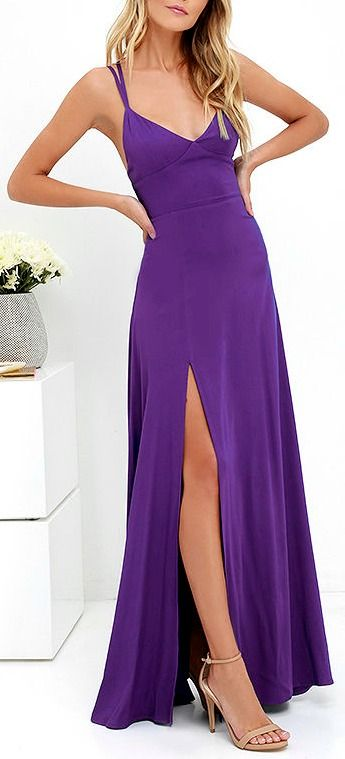 If island sun and sea beckon you, make sure the Bridgetown Beauty Purple Maxi Dress comes along on your trip! Tantalizingly soft woven rayon shapes an (adjustable) strappy bodice with a flattering set-in waist. A flaring maxi skirt boasts a high, sexy side slit. #lovelulus