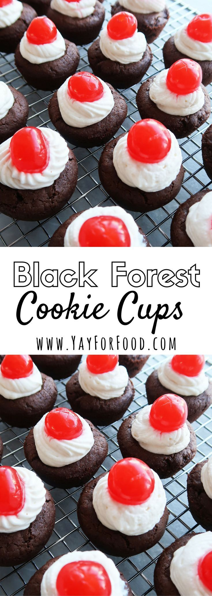 Inspired by Black Forest Cake! It is a soft, chewy chocolate brownie cookie, filled with homemade whipped cream, and topped with a maraschino cherry!