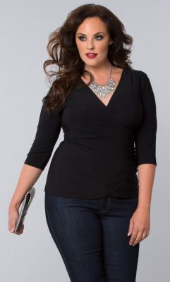 Plus Size Dressy Tops | Femme Fatale Faux Wrap Top