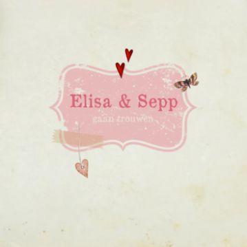 Romantische trouwkaart met kleine hartjes #nostalgisch #vintage #retro #trouwkaart