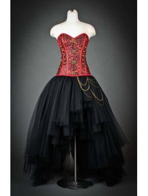 Robe rouge et noir gothique Steampunk Corset décroissant Parti Prom