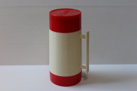ALADDIN Thermos, Red and Cream thermos, vintage thermos, vintage collectible, vintage gift item, gift for dad, Father's Day gift, housewares