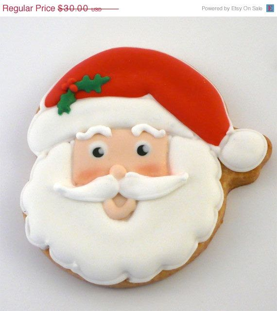 SALE Decorated Cookies for Christmas - Santa Claus - 1 dozen