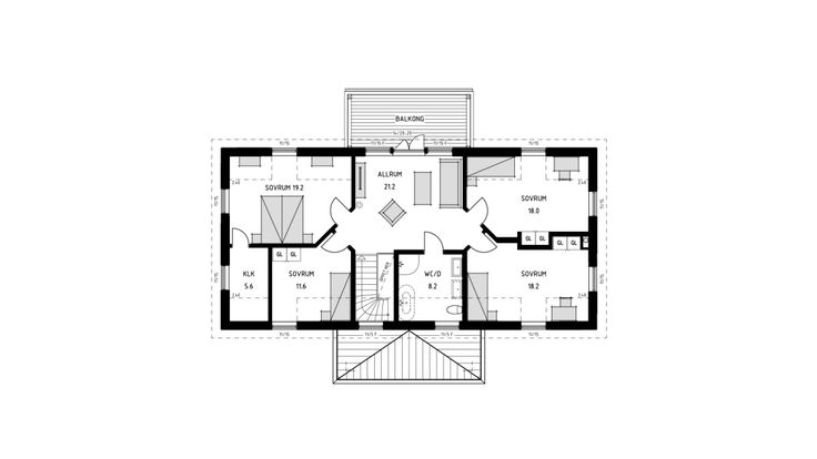 Villa Danderyd, en generös 2-plansvilla med symmetrisk fönsterplacering, veranda, balkong och flera takkupor. Se fler fakta, bilder och ritningar här!