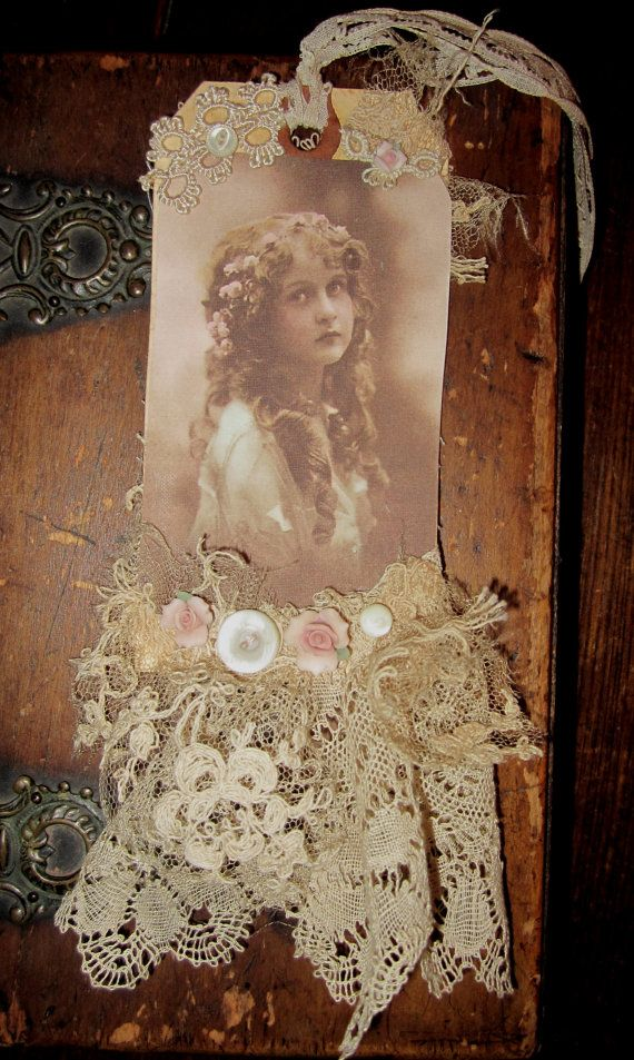 Vintage Lace Collage Edwardian Girl Embellished Tag. $19.99, via Etsy.