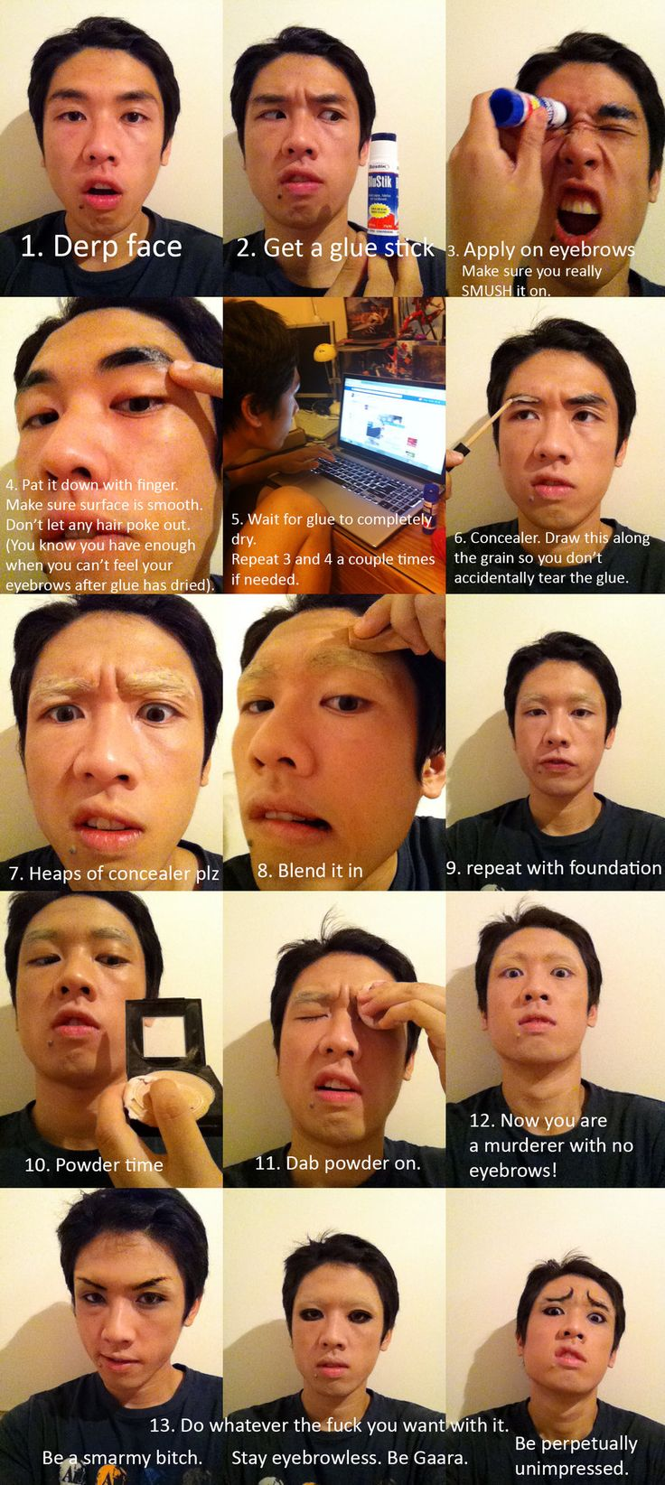Wirru's Cosplay Eyebrows Tutorial by AmenoKitarou.deviantart.com on @deviantART- Lol that last row killed me He's so funny and this is only one tutorial