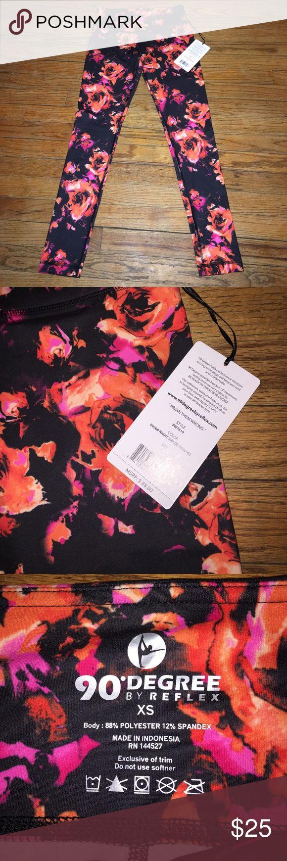 NWT Floral leggings by 90 Degrees REFLEX SZ: XS Floral leggings in night shade orange  by 90 Degrees REFLEX SZ: XS 90 Degree By Reflex Pants Leggings