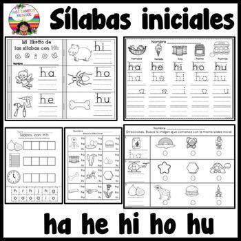 Sonidos iniciales para la letra H y las silabas ha, he, hi, ho, hu. Un paquete de varios trabajos para un salon de preescolar y kinder. Ideal para tareas y repaso. palabras de uso frecuente