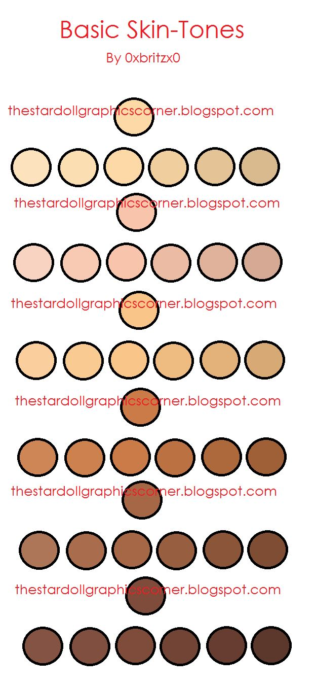 The Stardoll Graphics Corner: Skin-Tone color ref