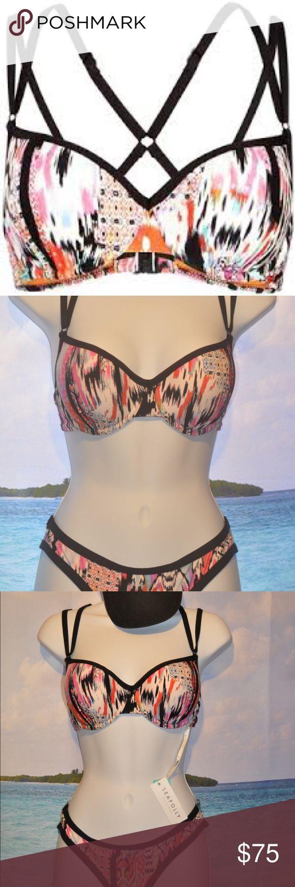 SEAFOLLY Australia Beach Gypsy D Cup Bustier Bra Bikini Top Seafolly Swim Bikinis