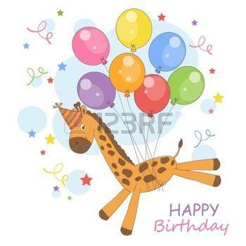 Buon compleanno Illustrazione colorato con poco carino giraffa volare su un palloncini photo
