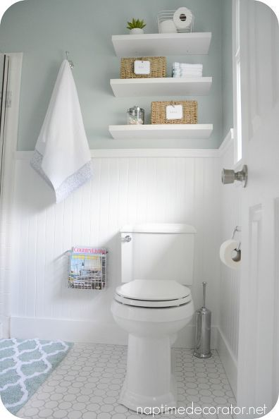 master bathroom makeover before after clean fresh, bathroom ideas, small bathroom ideas Love the shelves and brightness