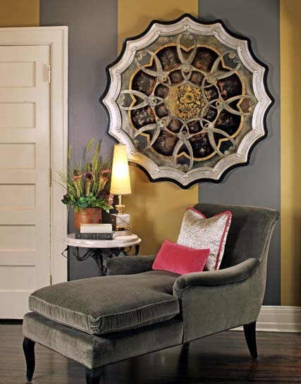 Love The Wall Piece On Gray And Gold Striped Over Chaise